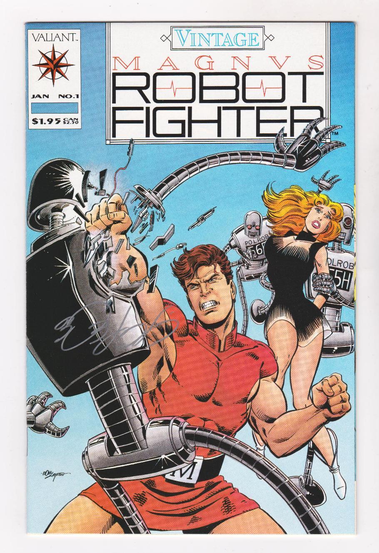 Magnus Robot Fighter #25 signed by John Ostrander SILVER FOIL COVER VALIANT NM